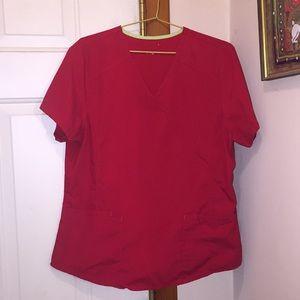 Red medium women's scrub top